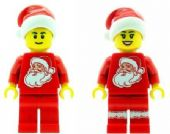 Christmas Boy & Girl with Santa Torso & Hat - Custom Designed Minifigures
